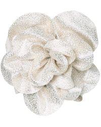 Bambah Metallic Floral Embellished Tube Top