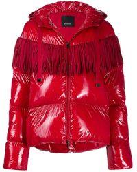 Pinko Стеганая Куртка С Капюшоном И Бахромой - Красный