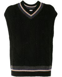 Coohem Cable-knit Sleeveless Vest - Black
