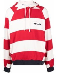 Sunnei Striped Cotton Hoodie - Red