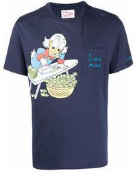 Mc2 Saint Barth Austine プリント Tシャツ - ブルー