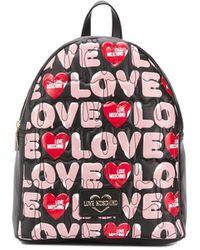 Love Moschino Logo Print Backpack - Black