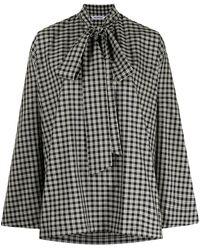 Balenciaga Клетчатая Блузка С Бантом - Черный