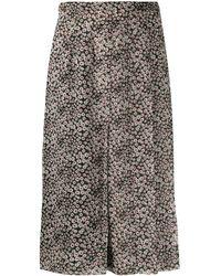 Rochas Falda con pliegues y estampado floral - Negro