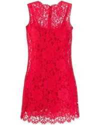Dolce & Gabbana A-line Scalloped Lace Dress - Red