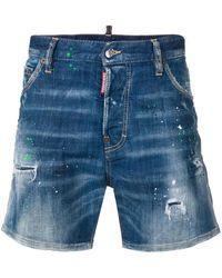 DSquared² - Paint Splatter Effect Denim Shorts - Lyst