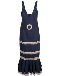 PATBO Robe mi-longue à empiècements contrastants - Bleu