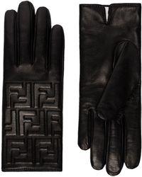 Fendi Перчатки С Тисненым Логотипом - Черный