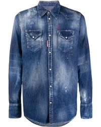 DSquared² Distressed Effect Denim Shirt - Blue
