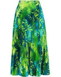 Versace プリーツツイルスカート - グリーン