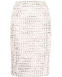 Paule Ka Tweed Midi Pencil Skirt - Pink