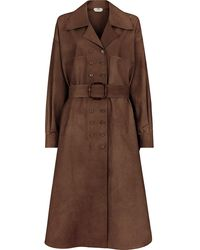 Fendi Double-breasted Belted Trench Coat - Brown