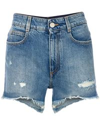 Stella McCartney - Distressed Denim Shorts - Lyst