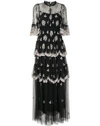 Needle & Thread フローラルレース ティアードドレス - ブラック