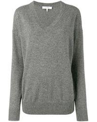 FRAME - Grey V-neck Knitted Sweater - Lyst