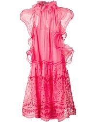 Alberta Ferretti エンブロイダリー フレアドレス - ピンク