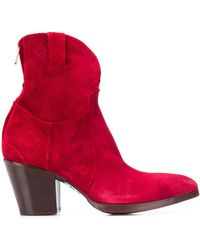 Rocco P Chunky Heel Boots - Red