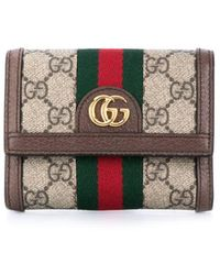 Gucci Ophidia GG French Flap Wallet - Коричневый