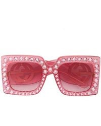 b3a031f0665 Gucci - Hollywood Forever Crystal Embellished Oversized Sunglasses - Lyst