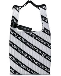 Alexander Wang Shopper Logo Jaquard Knit Tote Bag - White