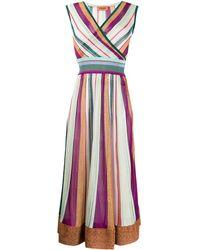 Missoni Платье Миди В Полоску С Запахом - Пурпурный
