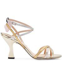 29dd1a229df Fendi Pearl Studded Bow Stiletto Sandals in Black - Lyst