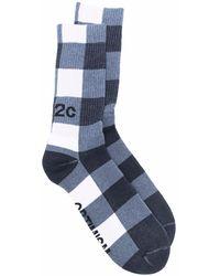 032c Socken mit Karomuster - Blau