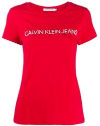 Calvin Klein T-shirt Met Logoprint - Rood