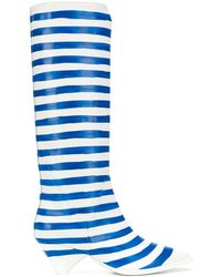Christian Wijnants Anselm Striped Mid-calf Boots - White