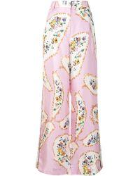 Tory Burch Wide-leg Silk Trousers - Pink