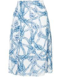 ROKH Falda con cuerdas estampadas - Azul
