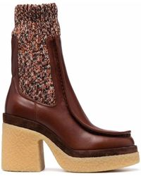 Chloé Jamie Rib-knit Ankle Boots - Brown