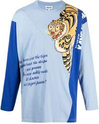 KENZO X Kansai Yamamoto Oberteil mit Tiger-Print - Blau