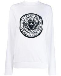 Balmain Sweatshirt mit Medaillon-Logo - Weiß