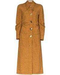 Rejina Pyo Paula Ruched Shirt Midi Dress - Brown