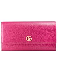 Gucci GG Marmont Leather Continental Wallet - Roze