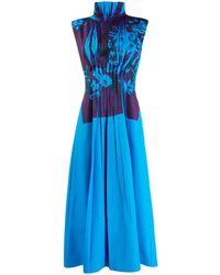 ROKSANDA Vestido con detalle plisado en el frente - Azul