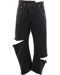 Monse Cut Out Cropped Jeans - Black