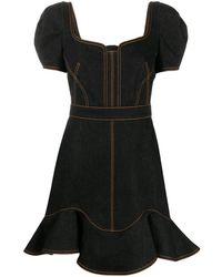 Alexander McQueen Джинсовое Платье-рубашка С Контрастной Строчкой - Синий