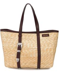 KATE CATE Woven Straw Tote - Multicolor