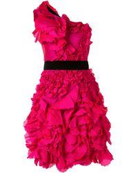 Marchesa notte ワンショルダー ドレス - ピンク