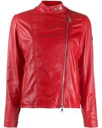 Peuterey Crissy Logo Patch Biker Jacket - Red