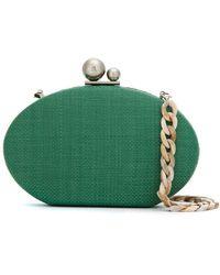 Isla Straw Clutch Bag - Green