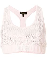 Juicy Couture Top corto de velour con apliques de Swarovski - Rosa
