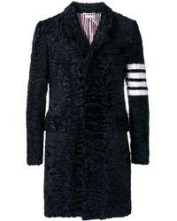 Thom Browne Каракулевое Пальто 'chesterfield' С Высокими Проймами И 4 Полосками Вязки Интарсия - Синий