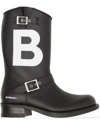 Burberry Tb レザー バイカーブーツ - ブラック