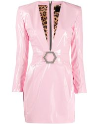 Philipp Plein Deep V-neck Fitted Dress - Pink