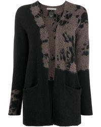 Suzusan Patterned Long-sleeve Cardigan - Black