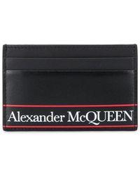 Alexander McQueen Gestreepte Pasjeshouder - Zwart