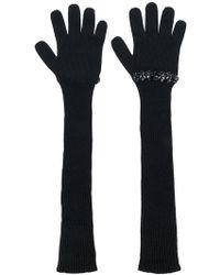 N°21 Sequinned Ribbed Gloves - Black